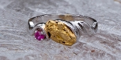 Alaskan Gold Nugget and Ruby in White Gold Ring
