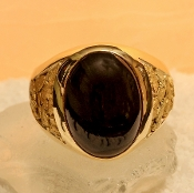 Custom Black Onyx and Alaskan Gold Nugget Rings and Jewelry