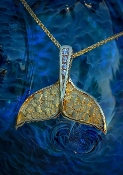Wild Alaska Whale Tail Pendant Alaskan Gold Nuggets