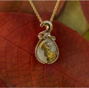 Gold Quartz Diamond Pendant in Yellow Gold