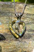 Beautiful Alaskan Gold Nuggets and Diamonds in 14kt Gold Heart Pendant