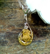 Alaskan Gold Nugget Pendant in White Gold