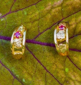 Natural Gold Nugget and ruby Hoop Earrings in 14kt Yellow Gold