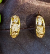Natural Gold Nugget and diamond Hoop Earrings in 14kt Yellow Gold