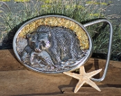 Wild Alaska Gold Nugget Sterling Silver Bear Belt Buckle