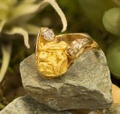 Natural Alaskan Gold Nugget and Diamonds in 14kt Yellow Gold.