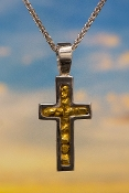 Alaskan Gold Nugget Cross in 14kt White Gold Pendant