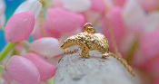 Alaskan Polar Bear Hand Crafted in 14kt Yellow Gold.