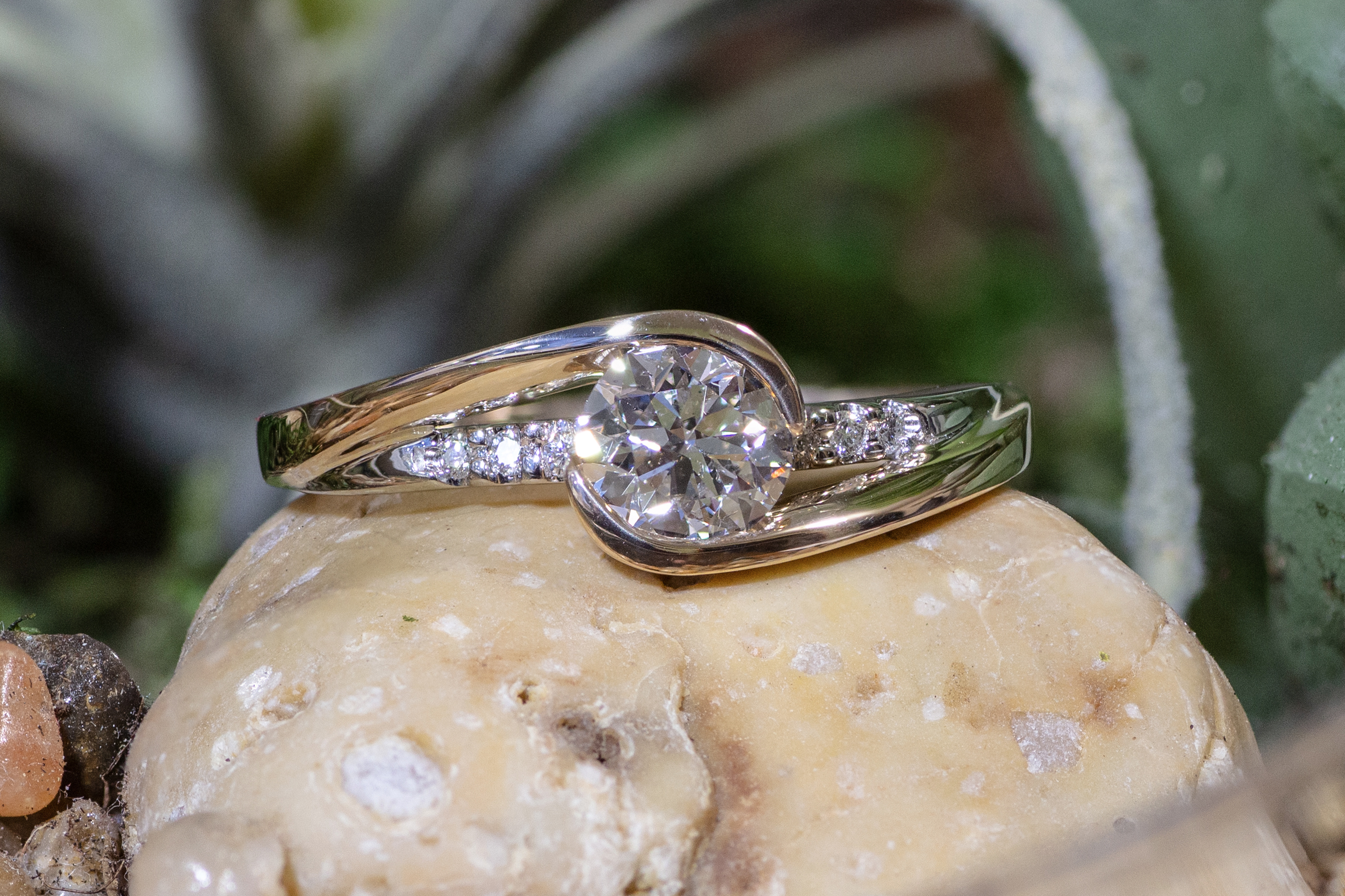 Diamonds in 14kt White Gold wedding ring.
