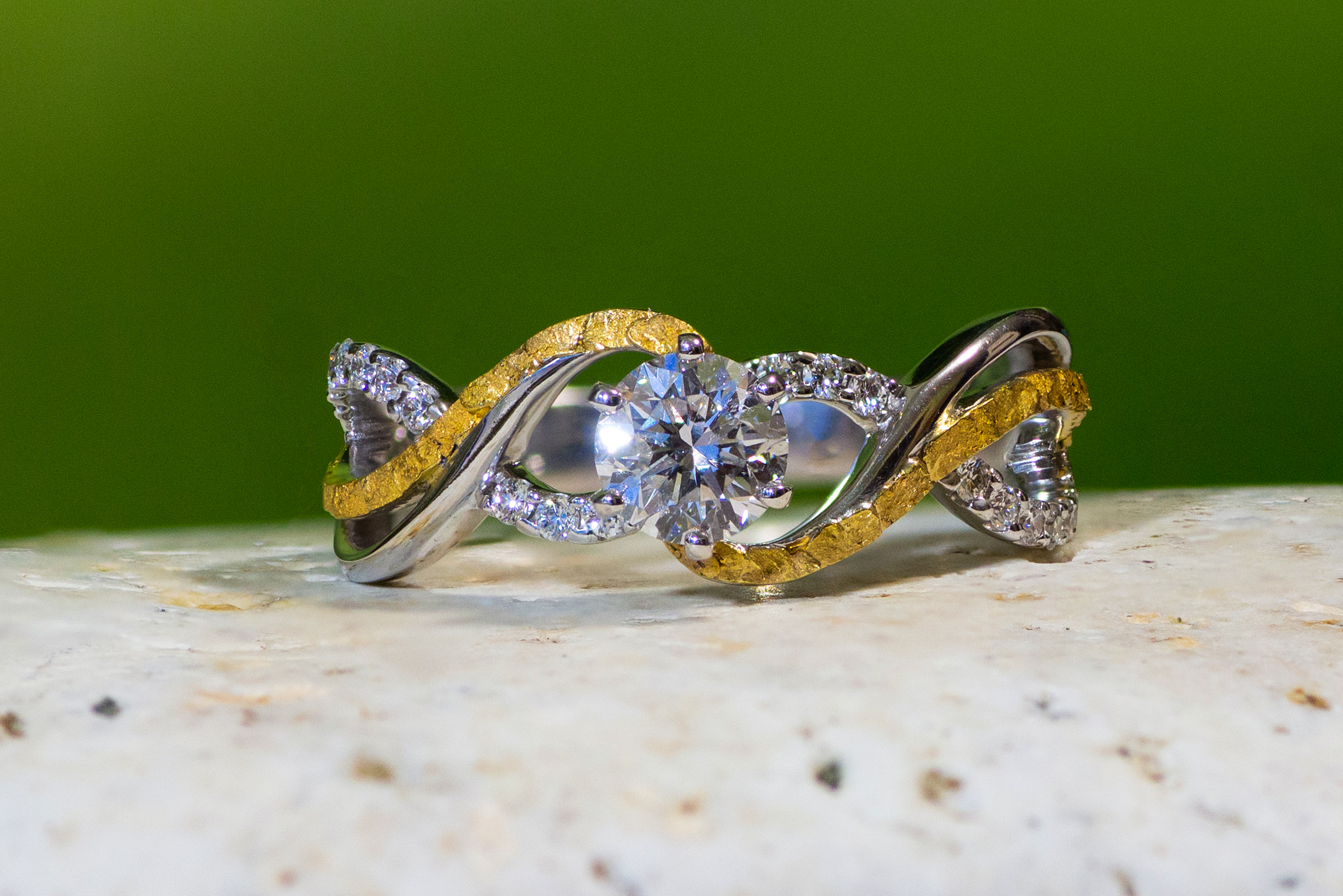 Natural Alaskan Gold Nuggets and Diamonds in 14kt White Gold wedding ring set.
