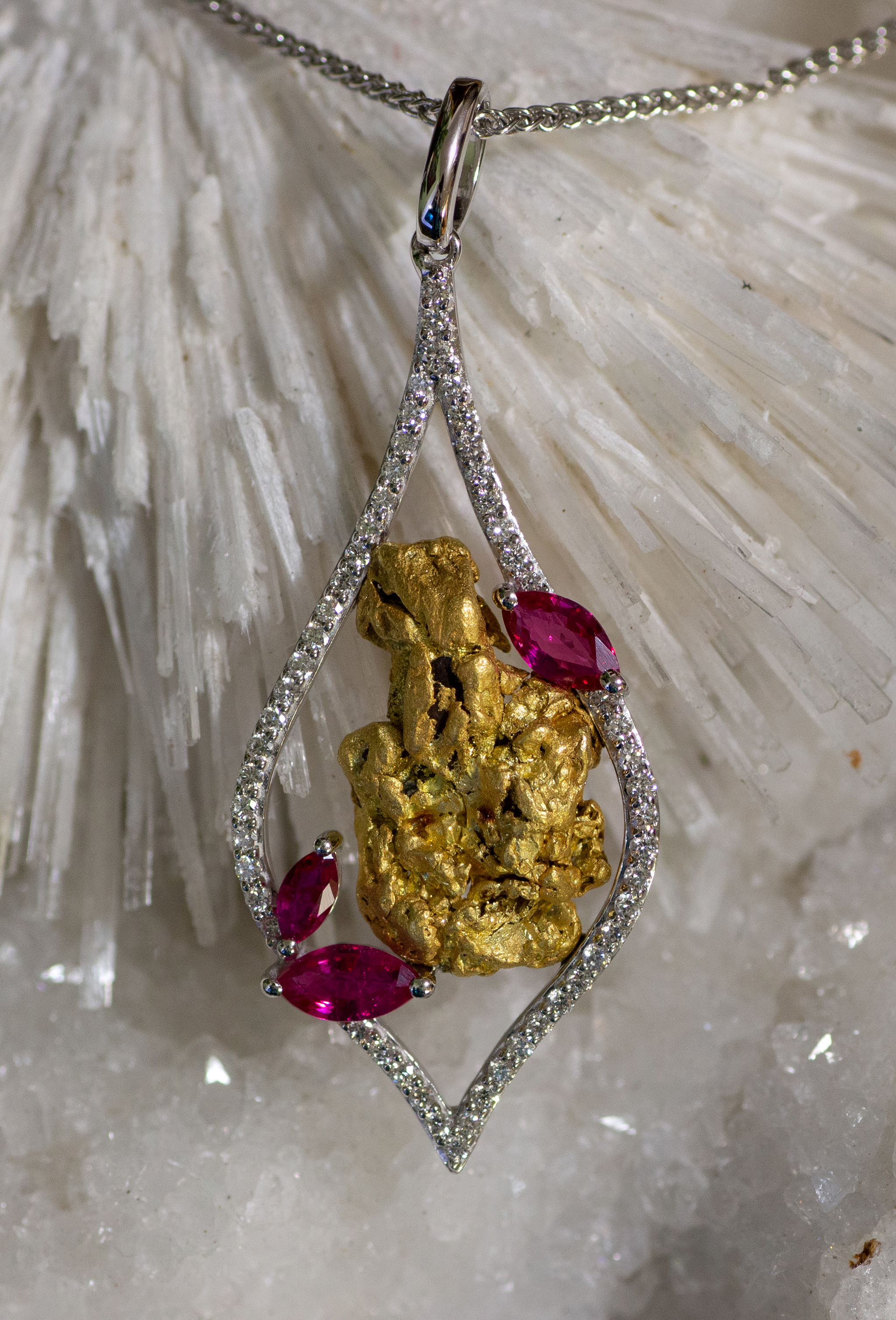 Alaskan Gold Nuggets, Diamonds.and Rubies in 14kt White Gold Pendant