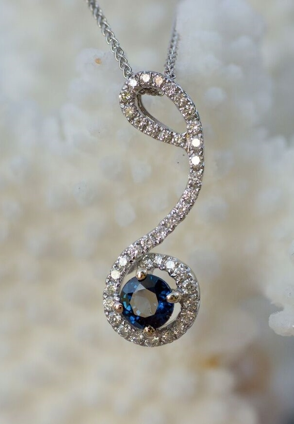 Sapphire and Diamond Pendant in 18kt white gold