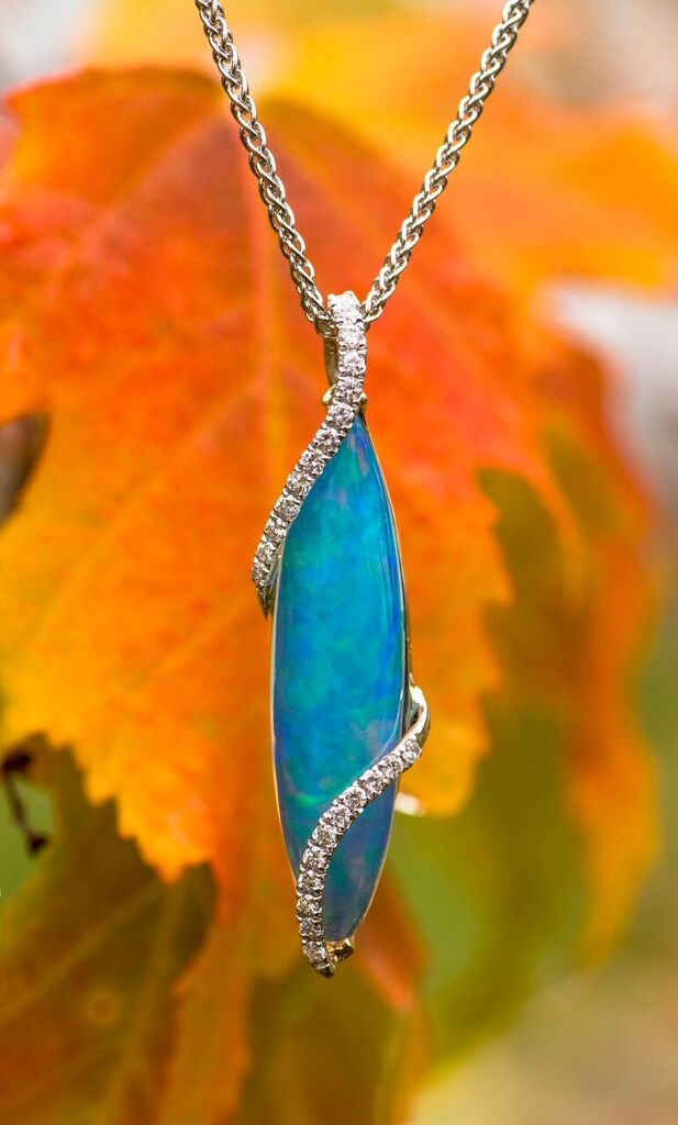 Opal and Diamond Pendant in 18kt white and yellow gold