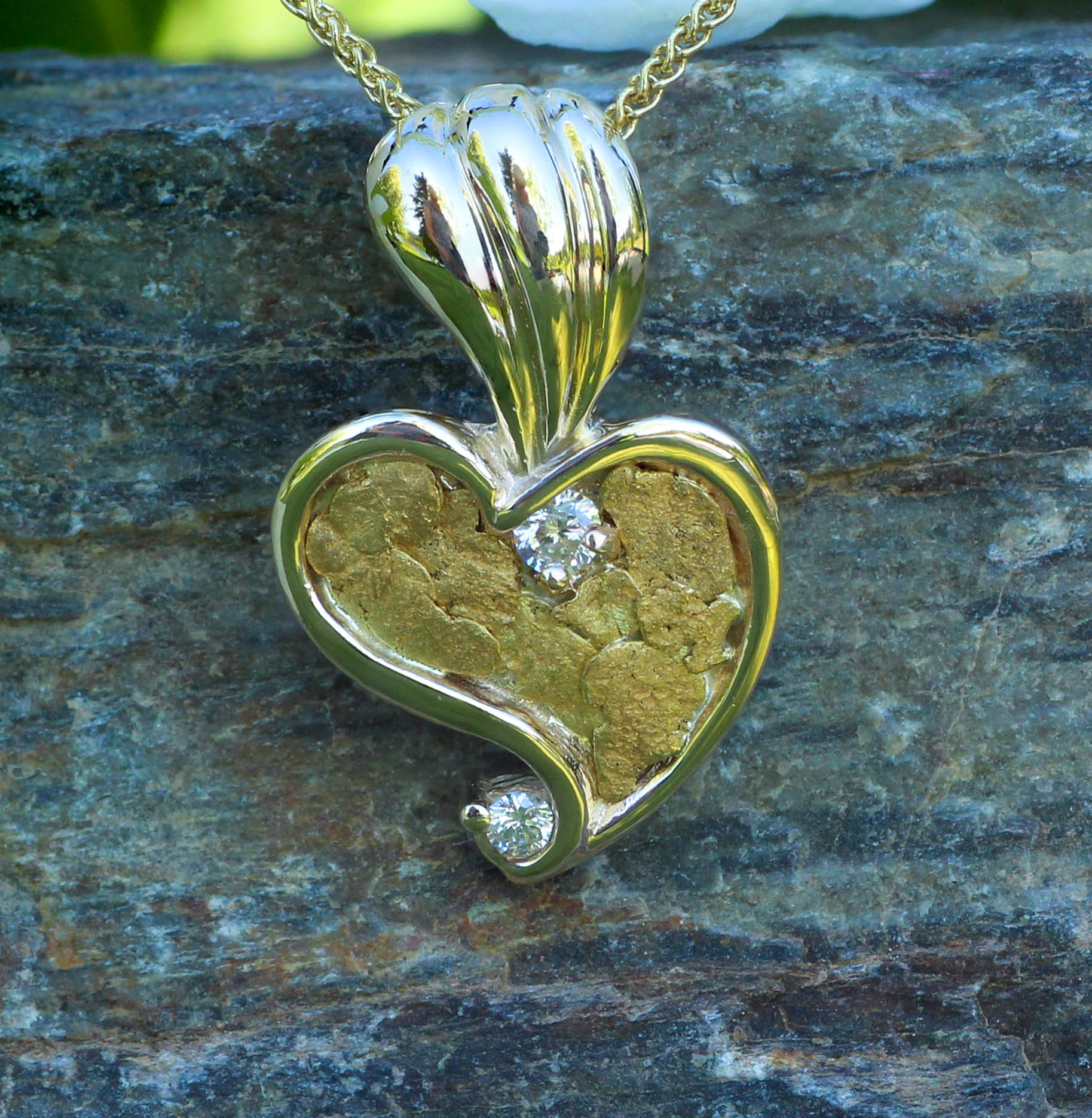 Alaskan Gold Nugget Diamond Heart Pendant.