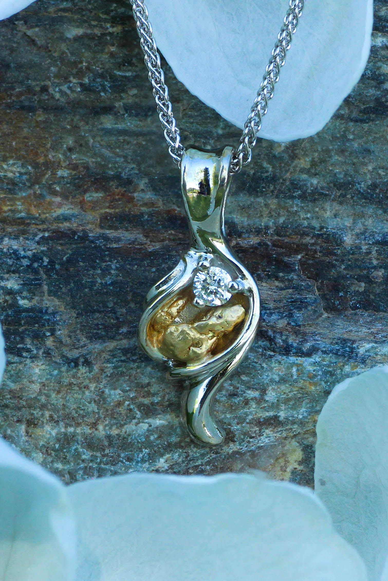 Natural Alaskan Gold Nugget Pendant in 14kt White Gold.