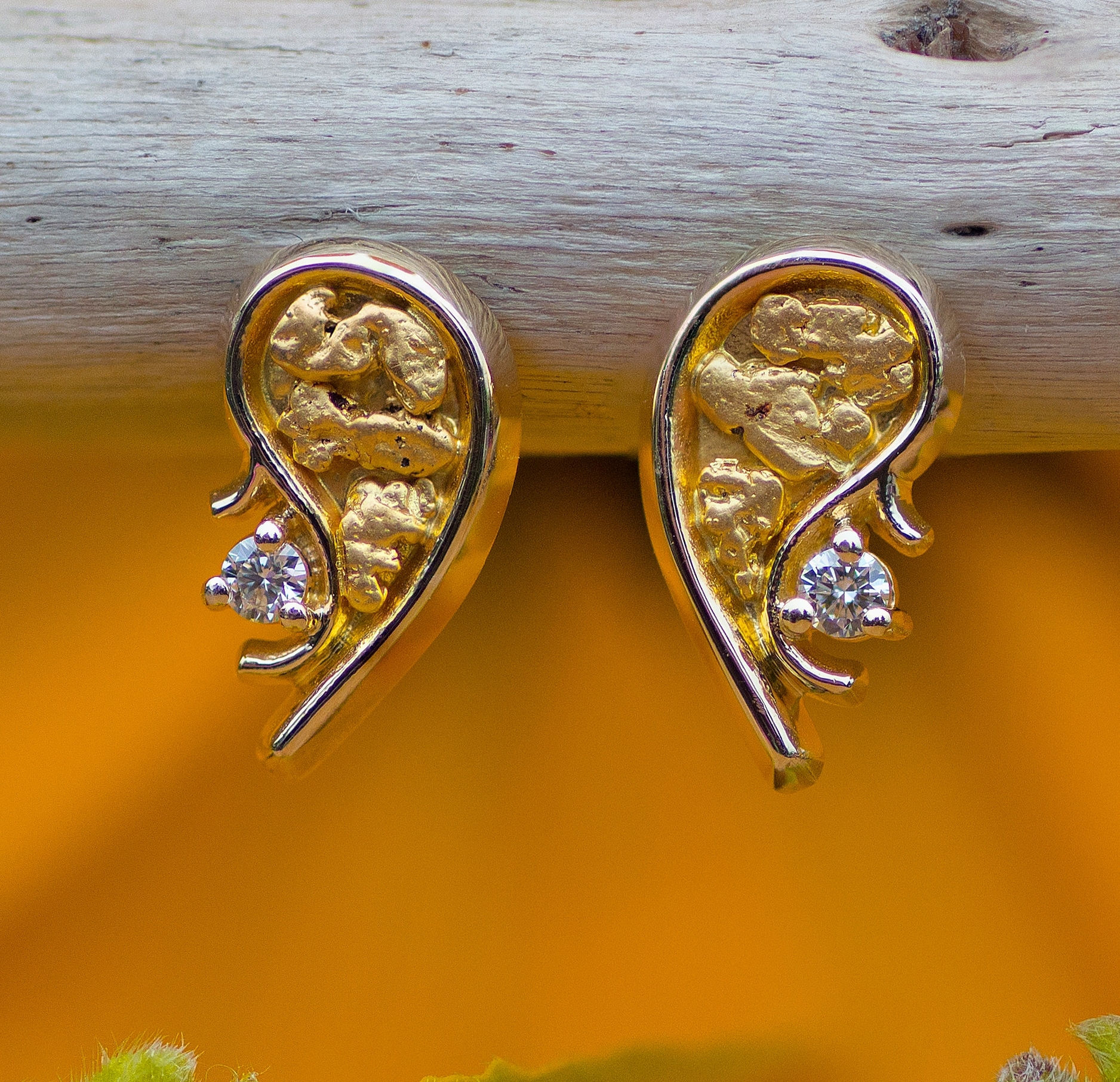 Gold Nugget and Diamond Earrings in yellow gold