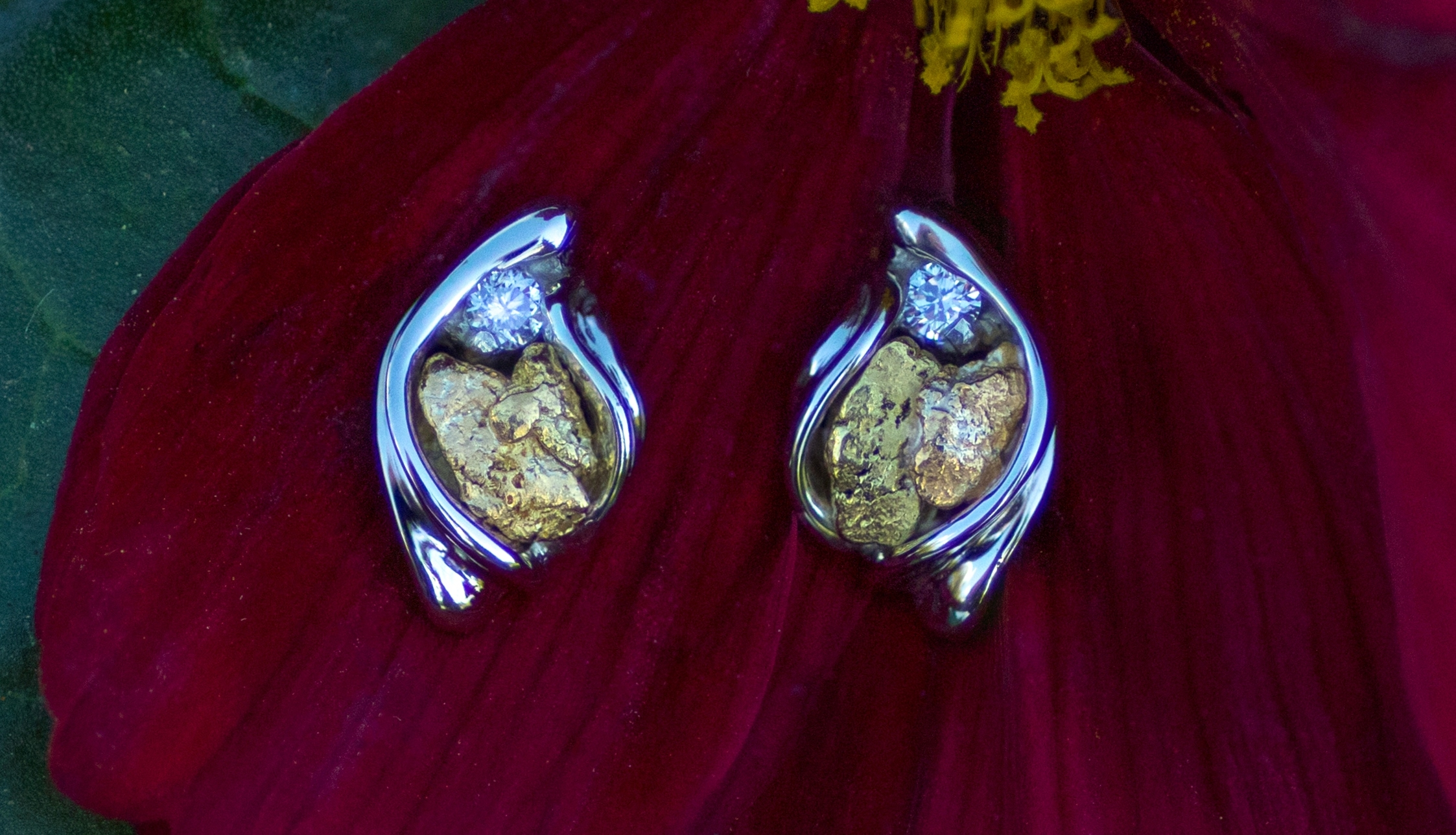 Gold Nugget and Diamond Earrings in White Gold