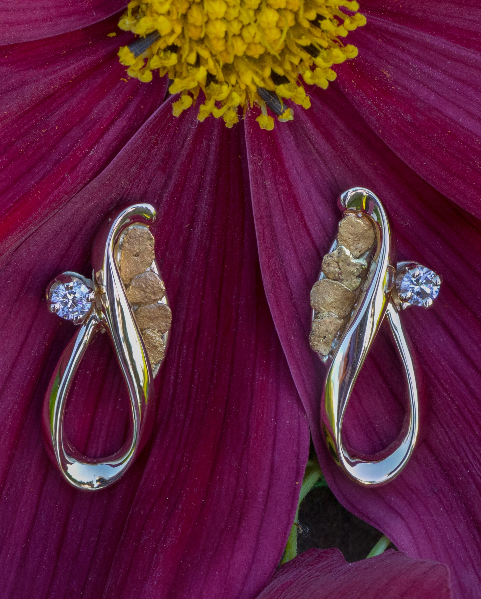 Gold Nugget earrings with diamonds in 14kt yellow gold.