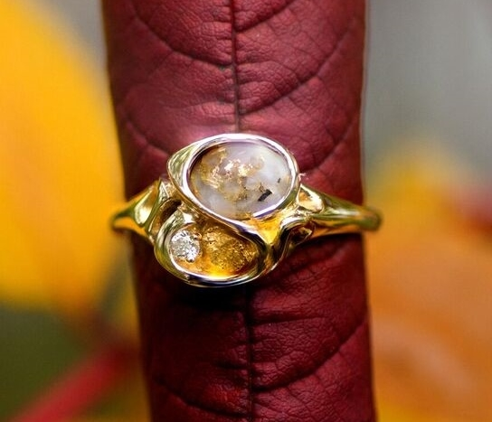 Gold Quartz Diamond Alaskan Gold Nugget Ring in Yellow Gold