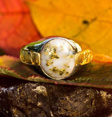 Gold Quartz Alaskan Gold Nugget ring
