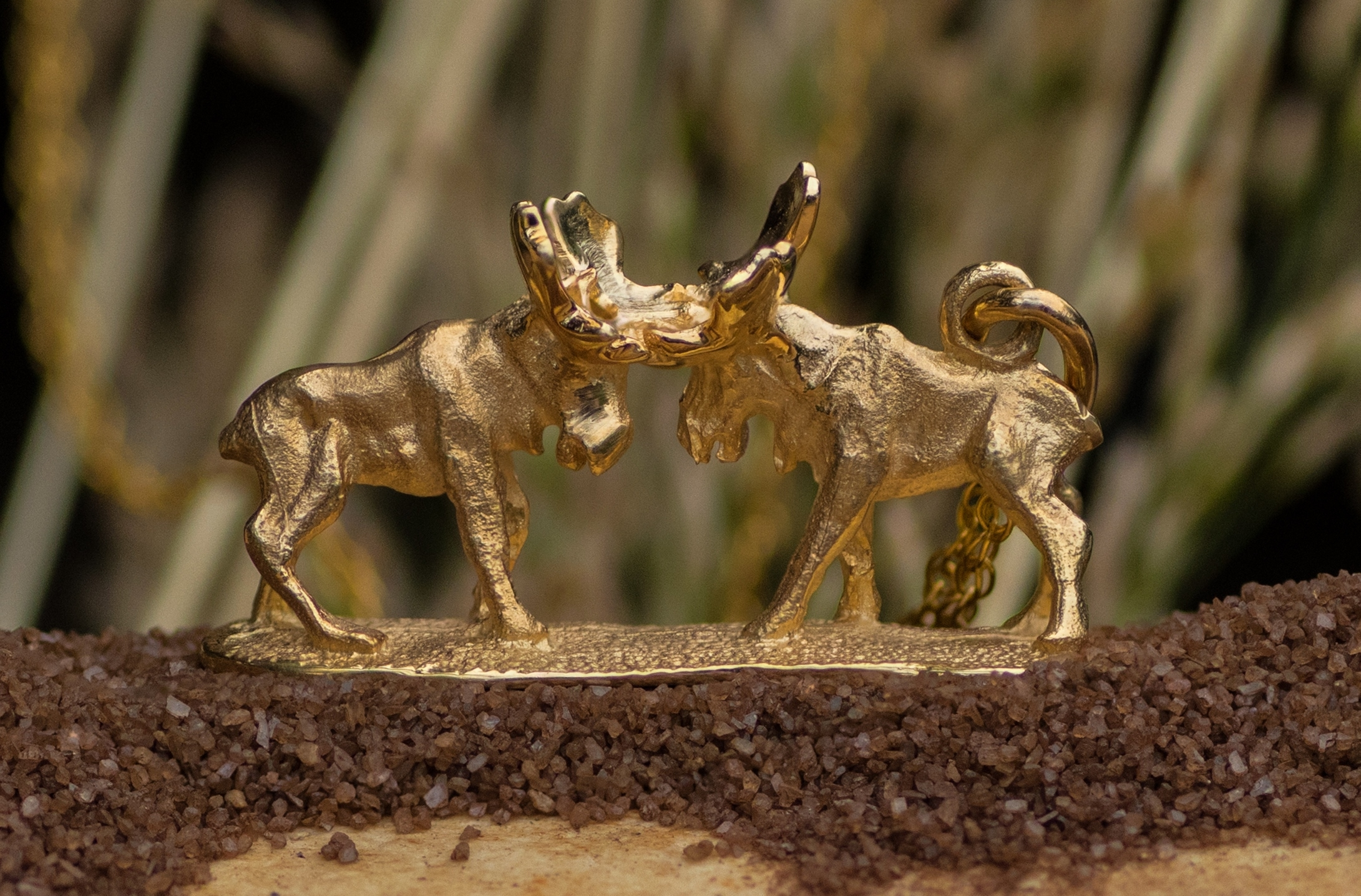 Alaskan Moose Charm Hand Crafted in 14kt Yellow Gold.