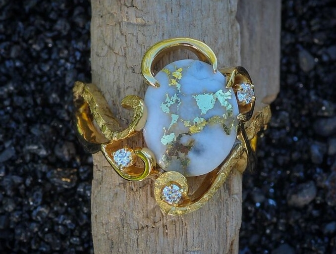 Custom Gold Quartz Alaskan Gold Nugget Ring with Diamonds.