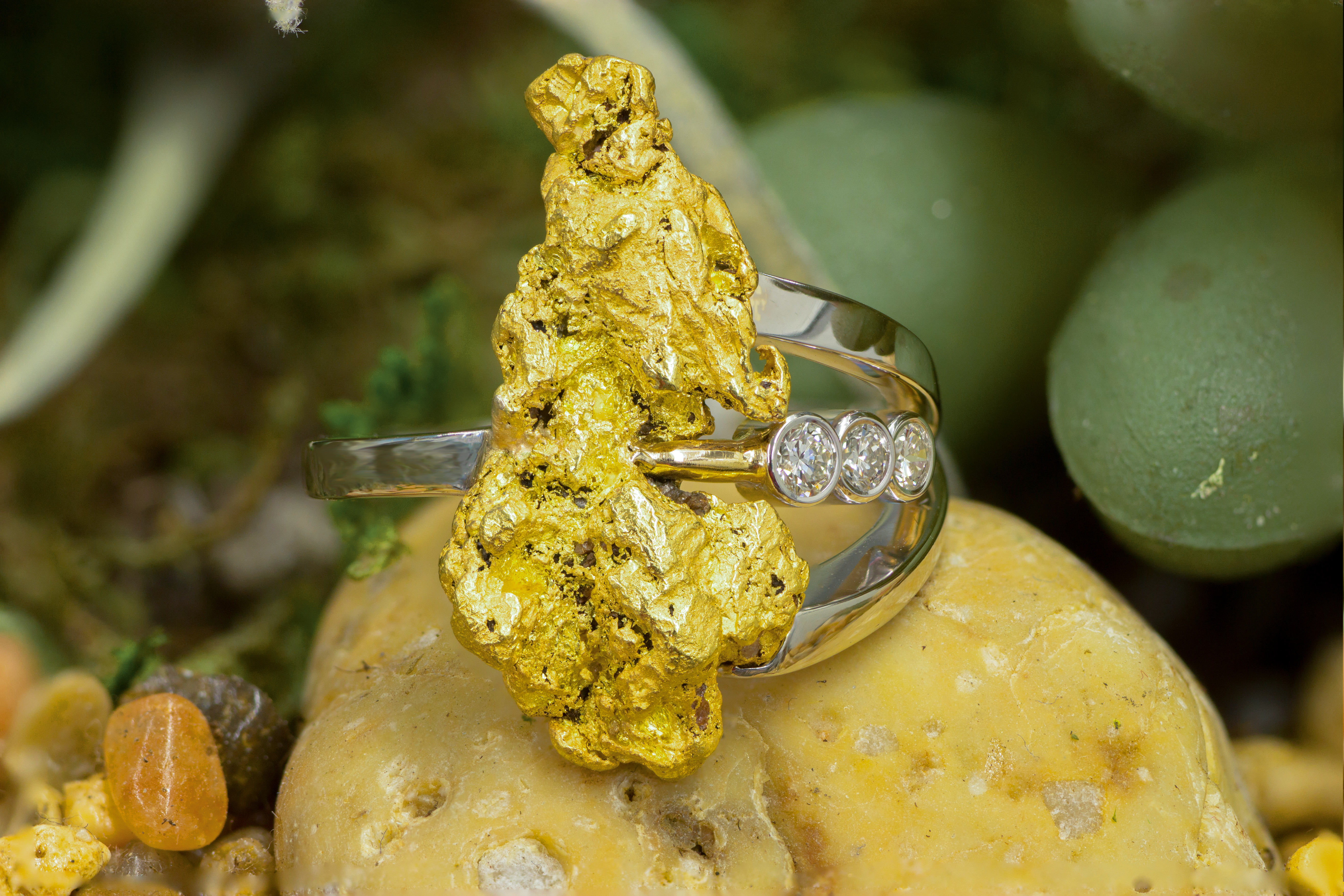 Custom Alaskan Gold Nugget and Diamonds in 14kt White Gold.