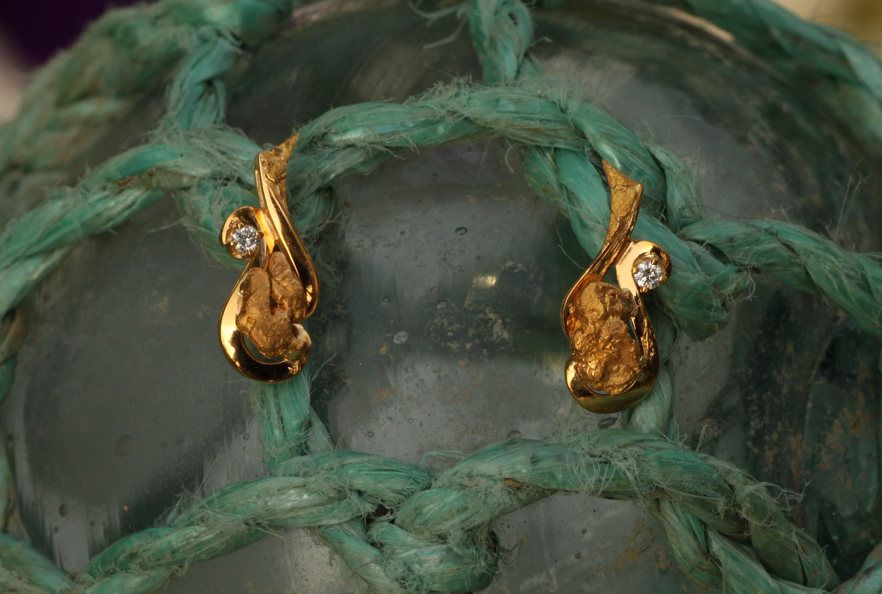 Alaskan Gold Nugget Diamond Scroll Earrings
