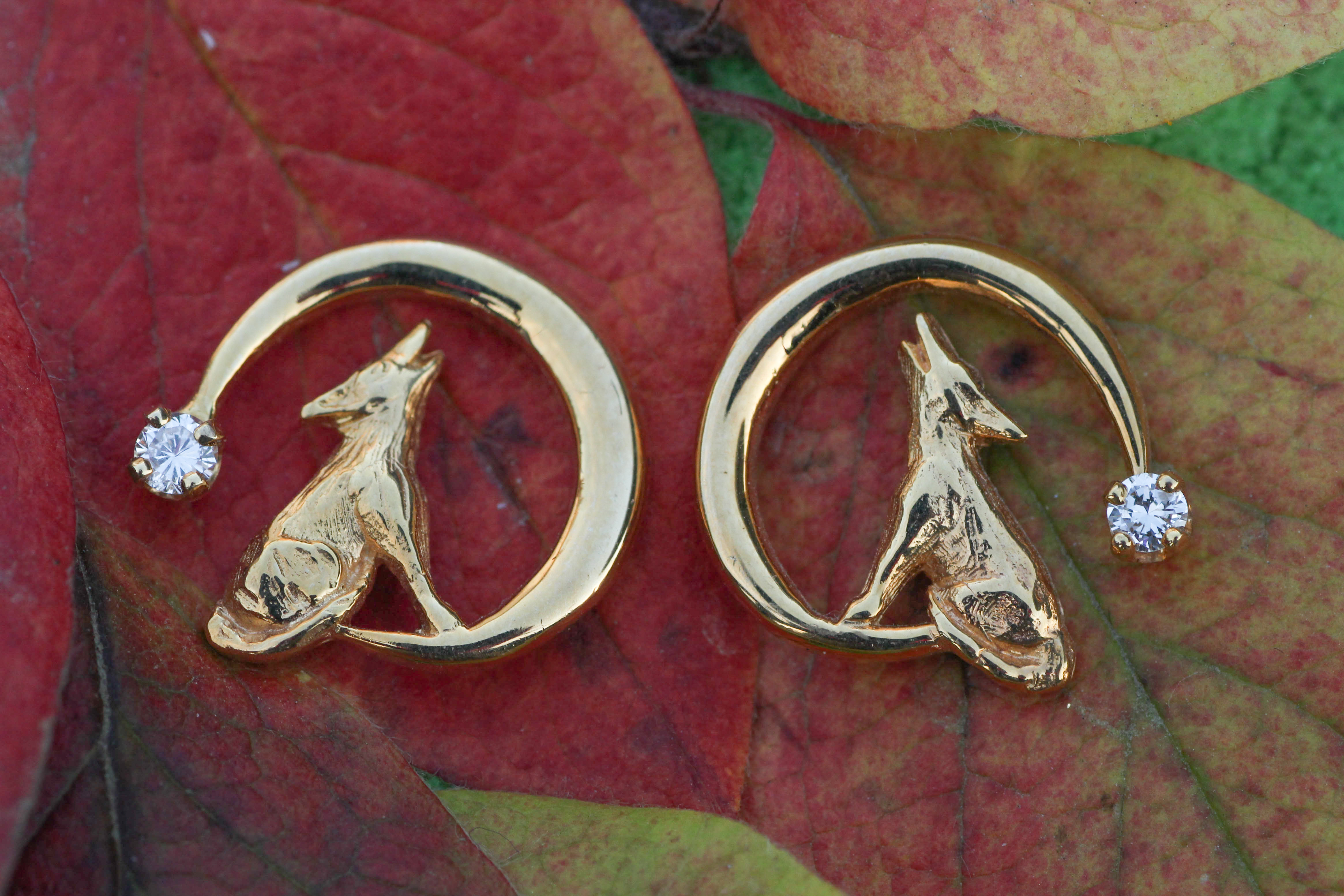 Wild Alaska Howling Wolf Earrings Crafted in 14kt Yellow Gold with Diamonds