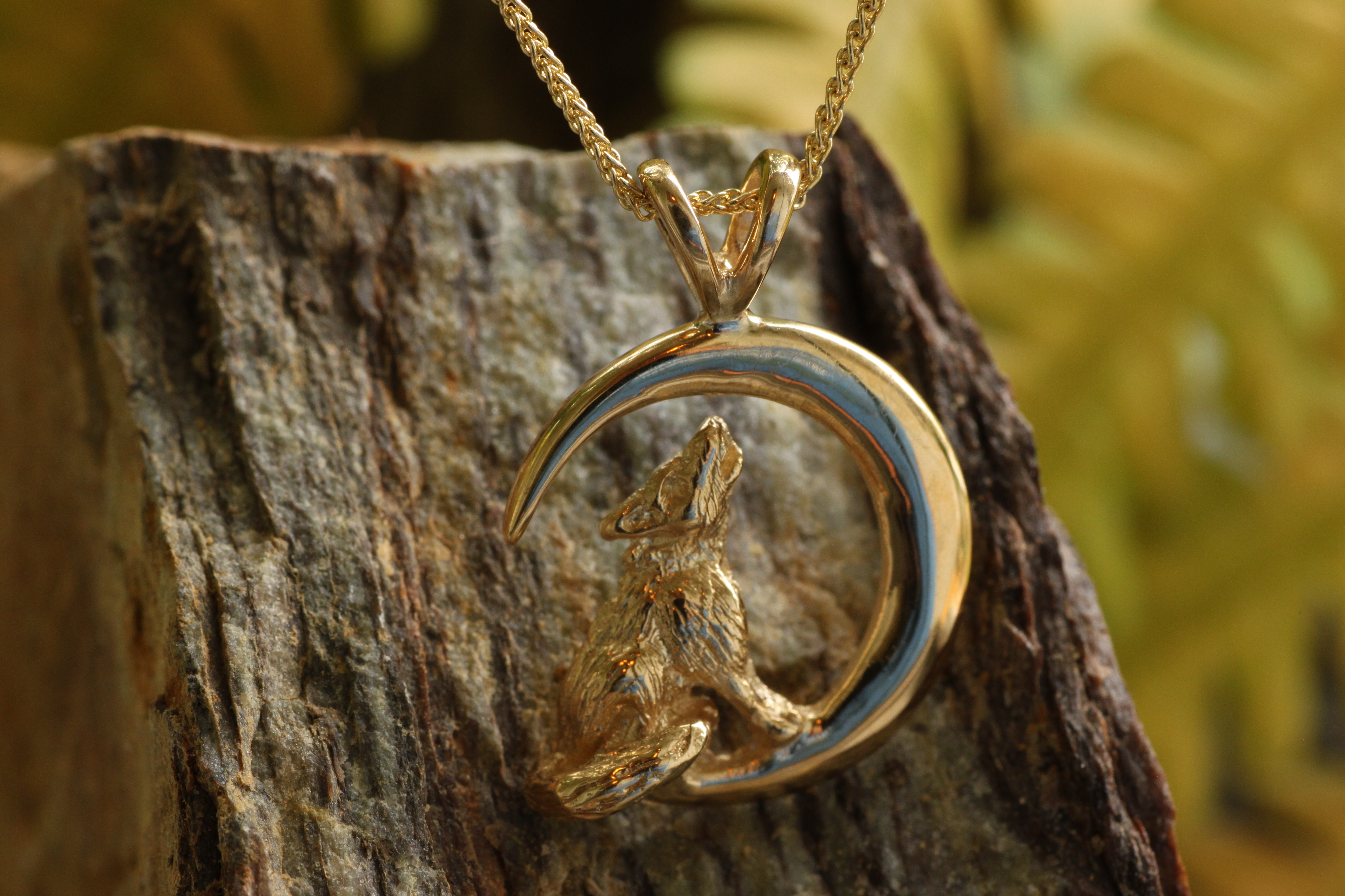 Wild Alaska Howling Wolf Pendant Crafted in 14kt Yellow Gold