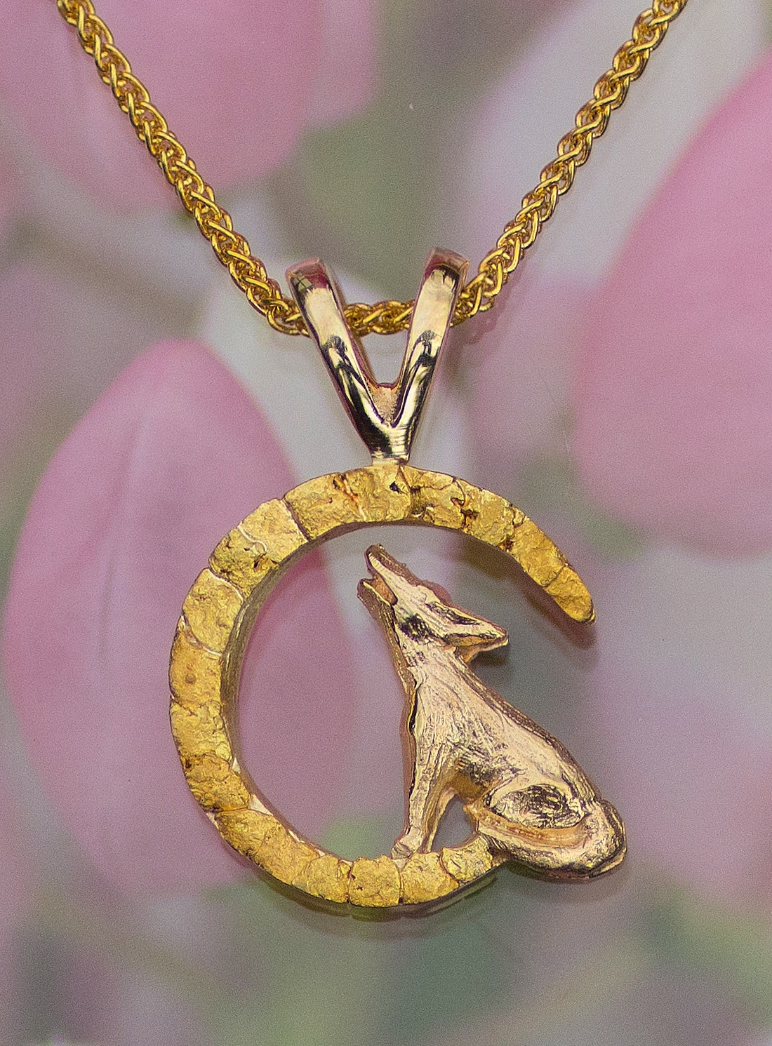 Wild Alaska Wolf Pendant with Alaskan Gold Nuggets and Diamond