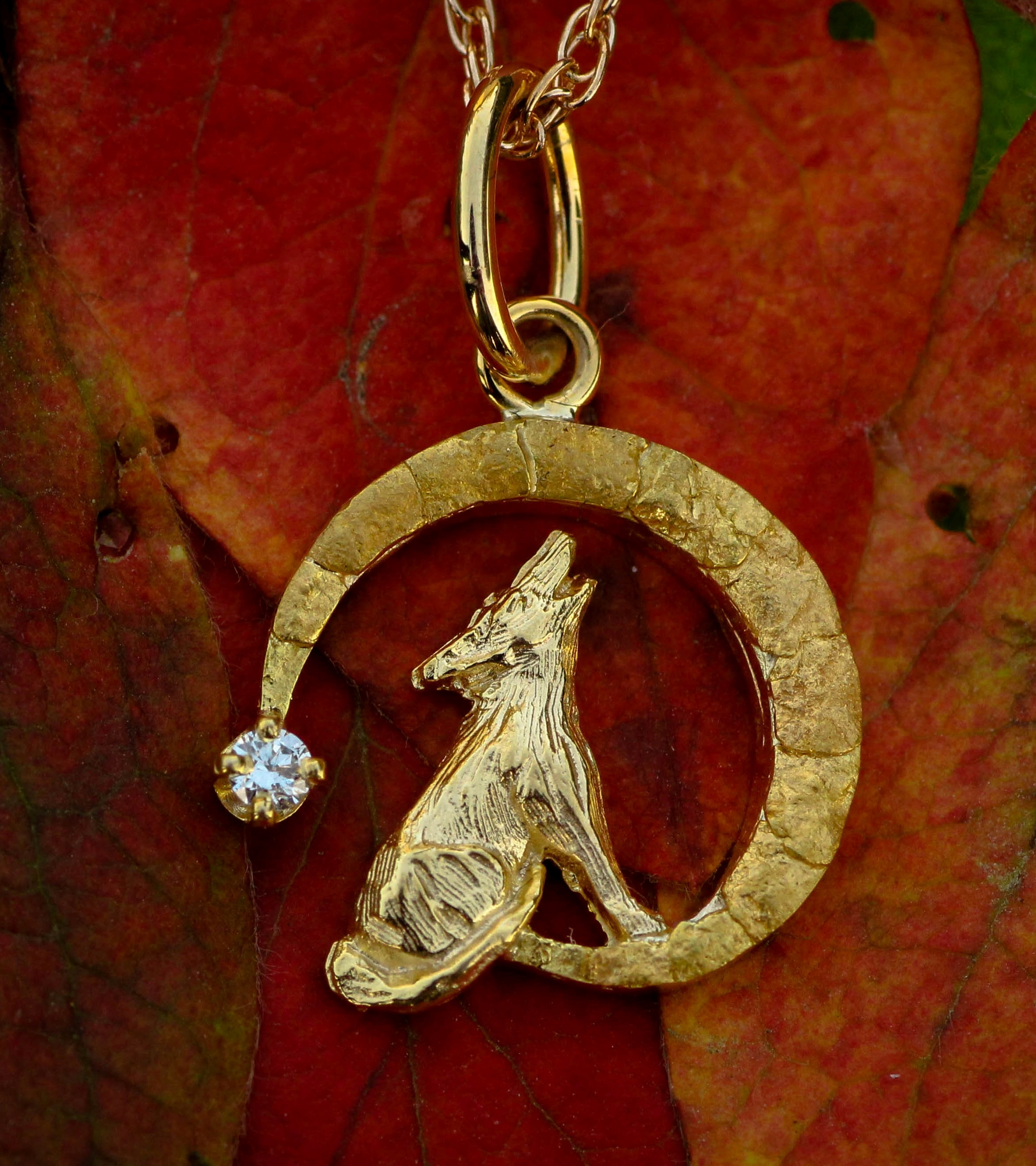 Wild Alaska Howling Wolf Pendant Crafted in 14kt Yellow Gold with Natural Alaskan Gold Nuggets