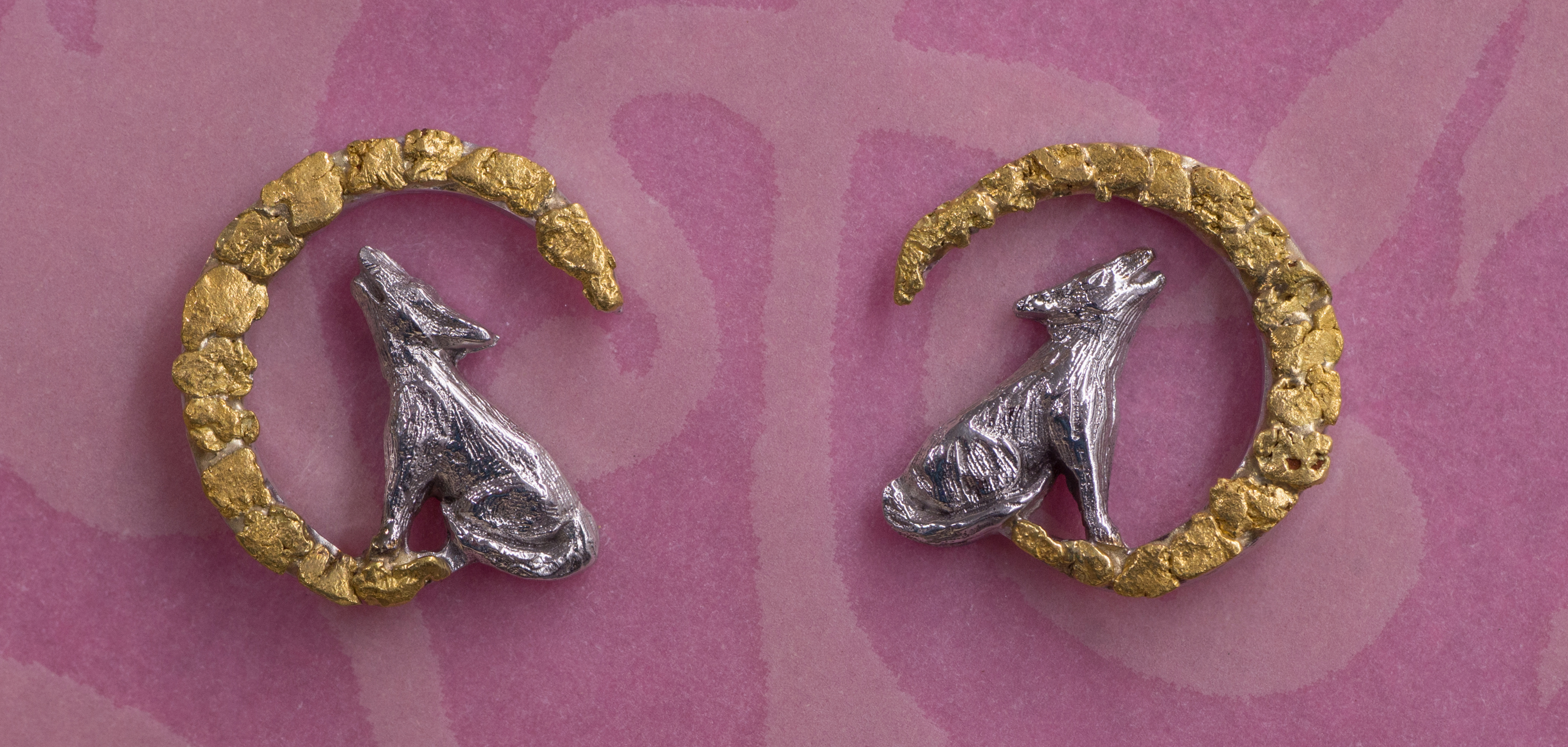 Wild Alaska Howling Wolf Earrings Crafted in 14kt White Gold with Natural Alaskan Gold Nuggets