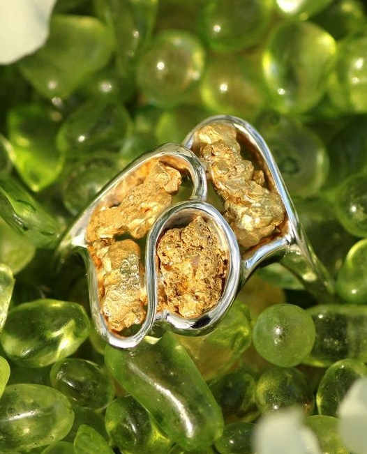 White Gold Alaskan Gold Nugget Ring