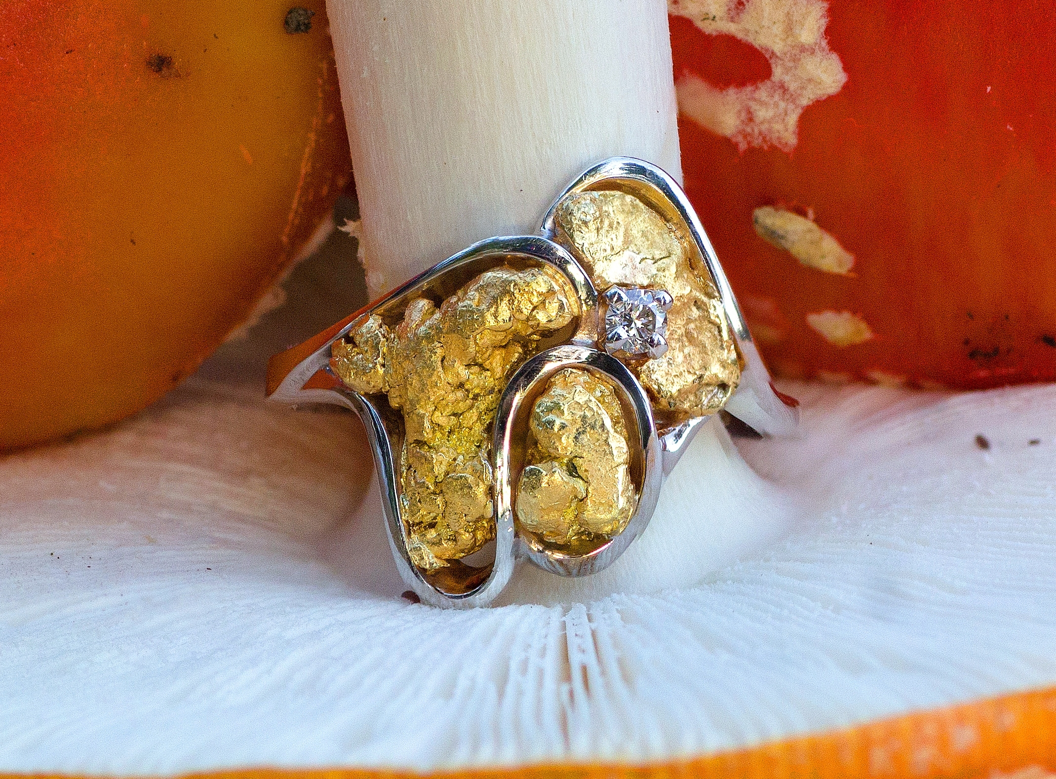 Natural Alaskan Gold Nugget and Diamond Ring