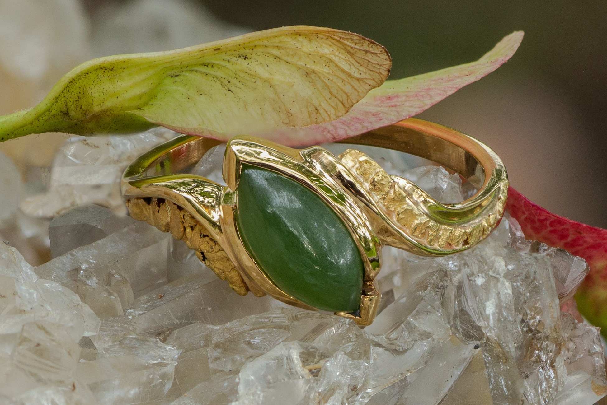 Jade and natural Alaskan Gold Nugget in 14kt yellow gold ring.