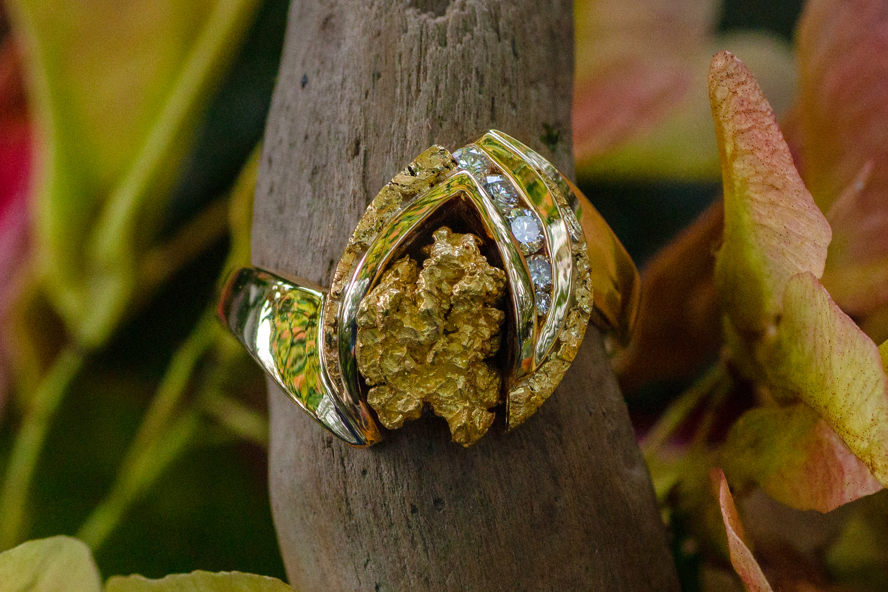 Alaskan Gold Nuggets and Diamonds in Yellow Gold Ring, Gold Nugget Jewelry