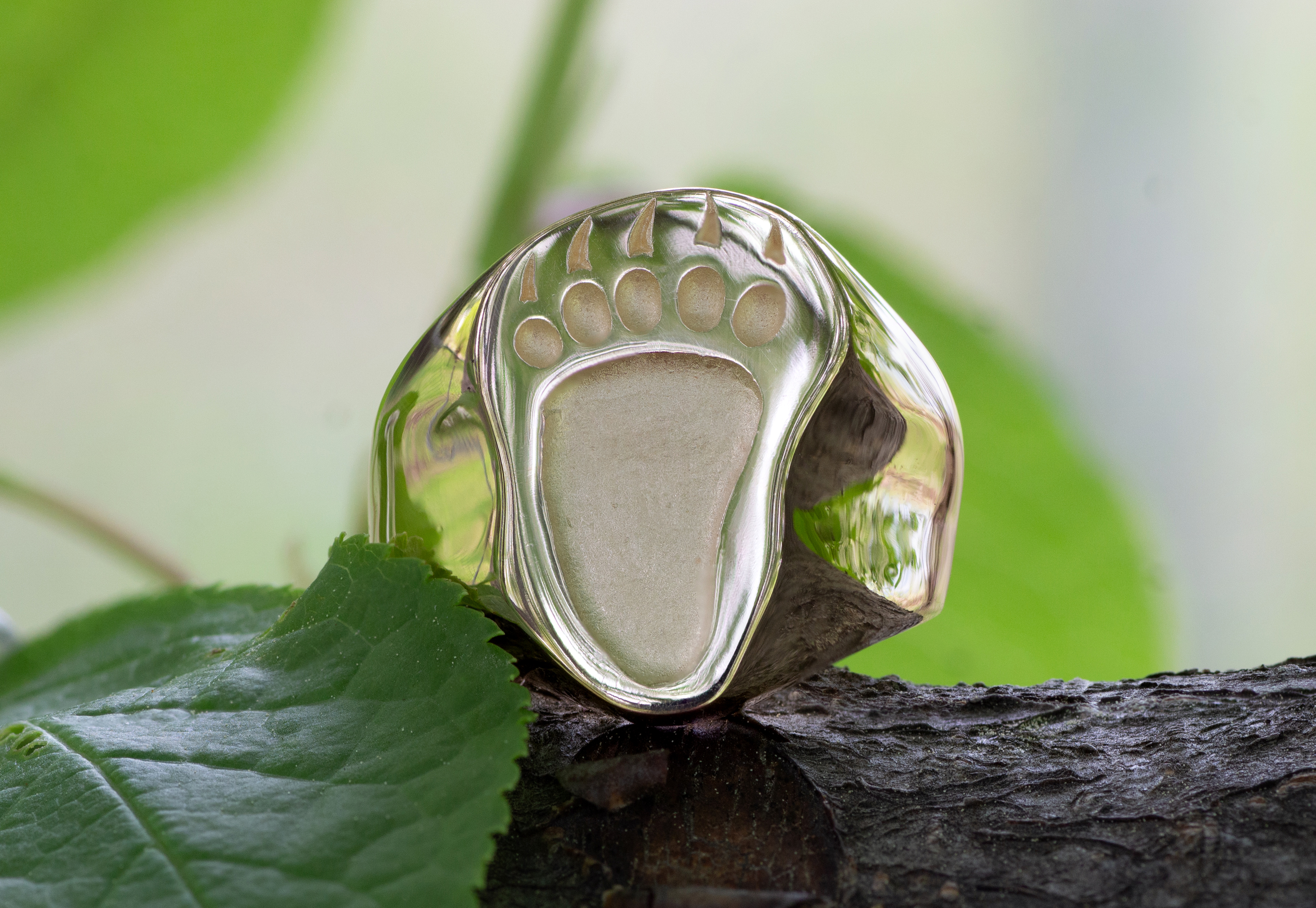 Wild Alaska Bear Paw Ring in 14kt yellow gold.