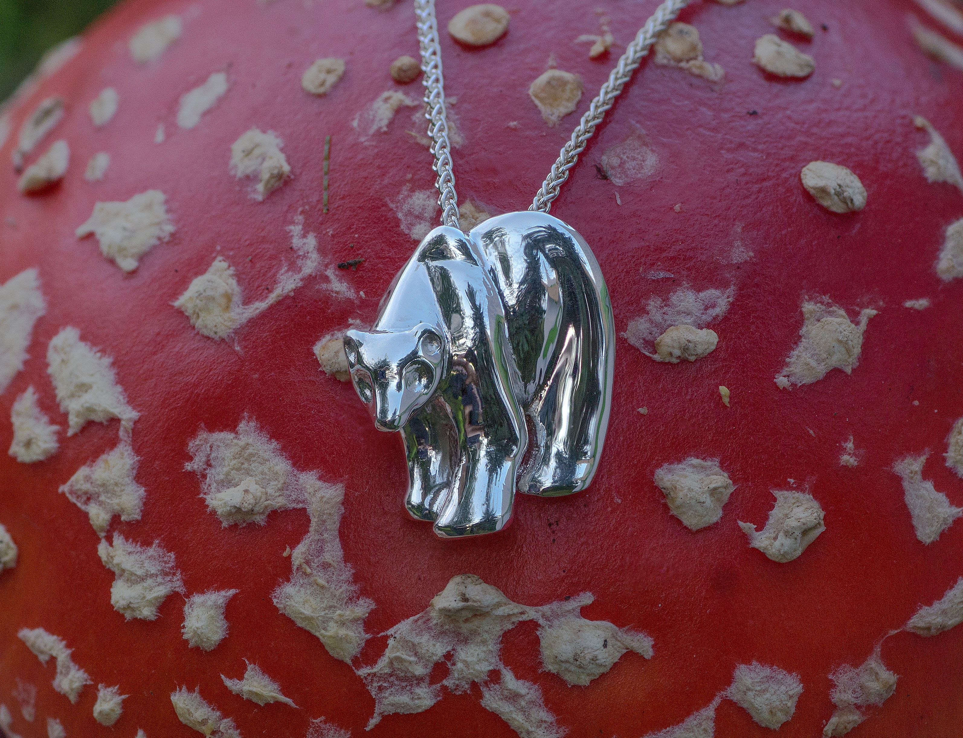 Wild Alaska Bear in Sterling Silver Pendant with a high polish.