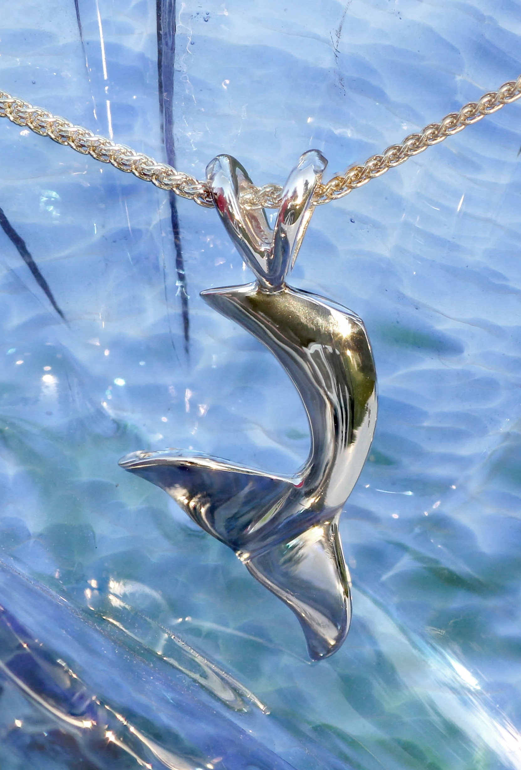 Wild Alaska Yellow Gold Whale Tail Pendant