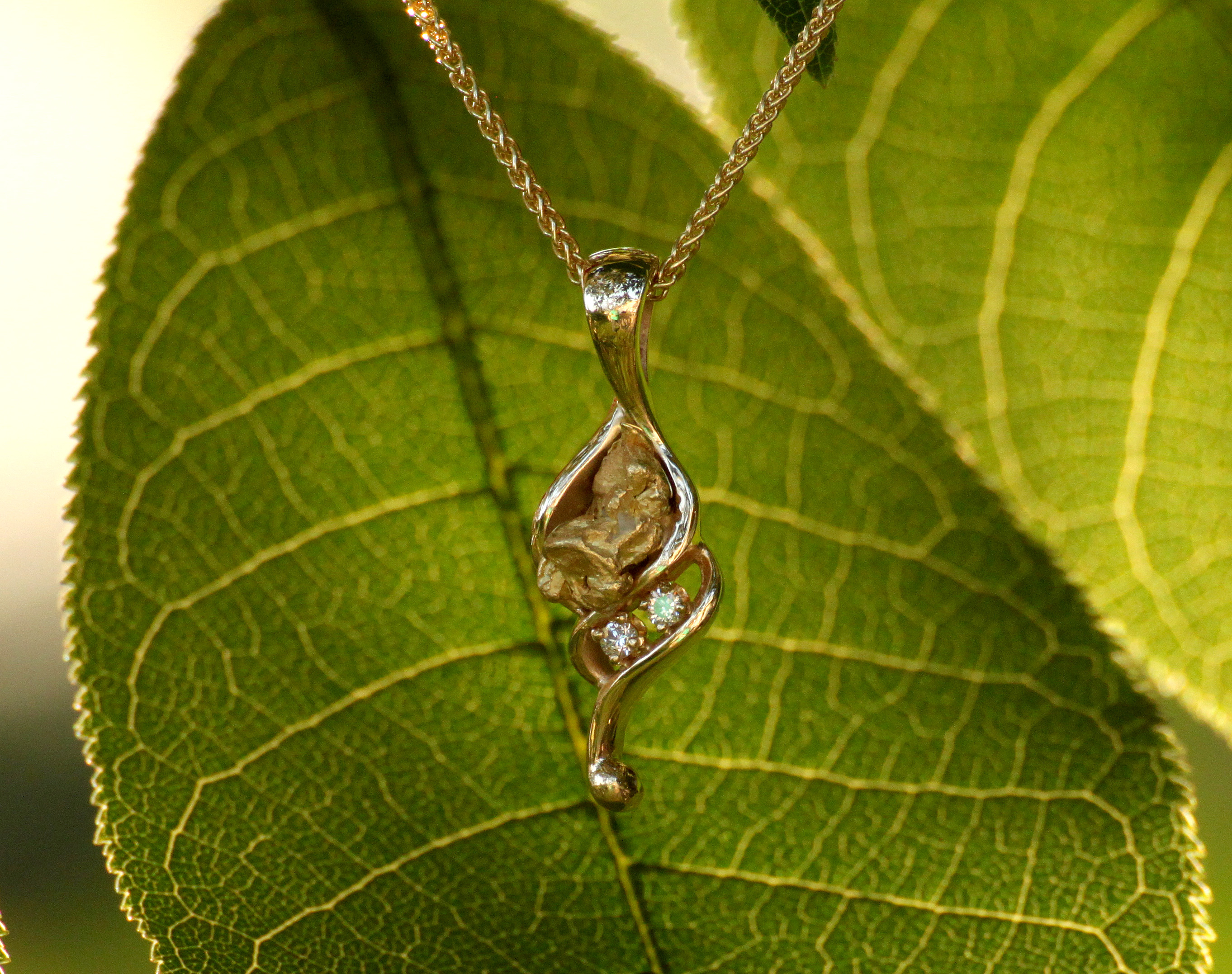 Alaskan Gold Nugget and Double Diamond Pendant in Yellow Gold