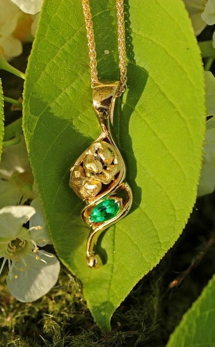 Custom Emerald and Alaskan Gold Nugget Pendant