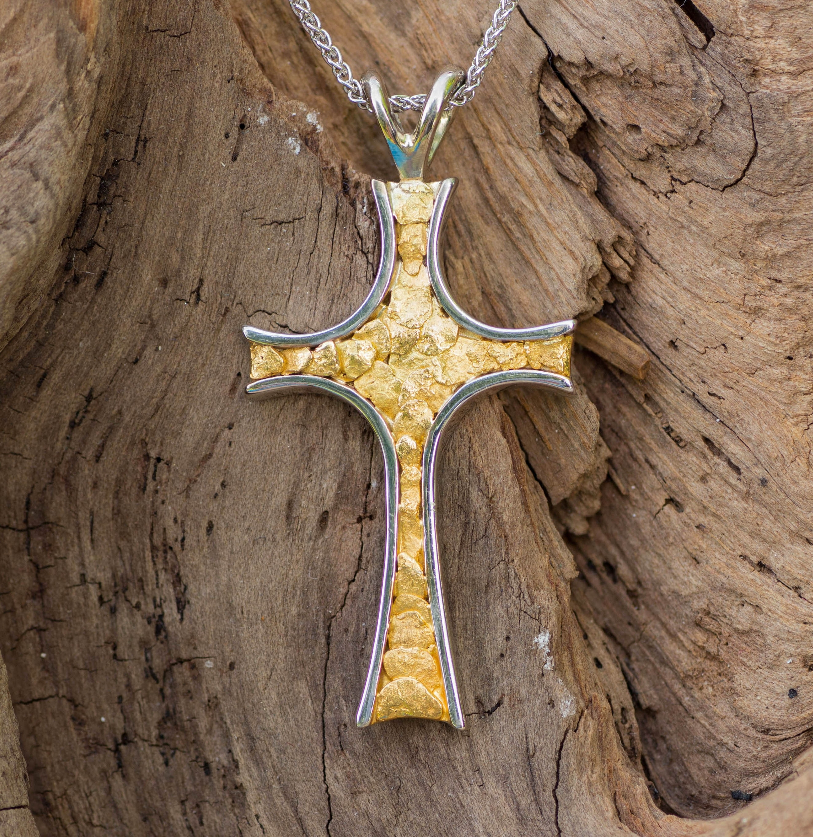 Alaskan Gold Nuggets in 14kt White Gold Cross pendant