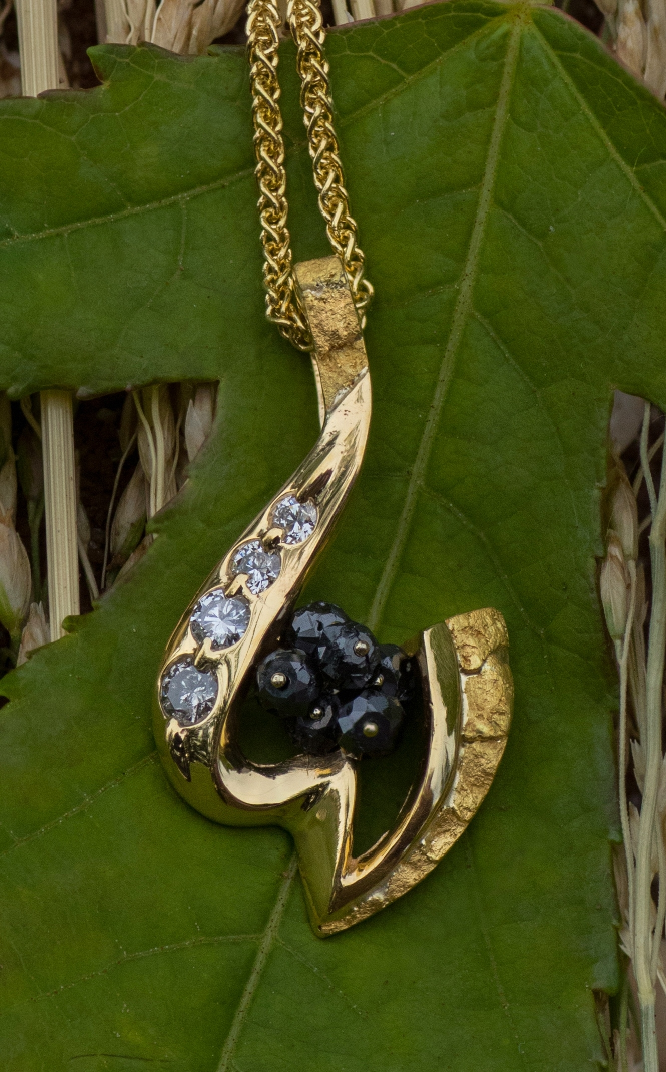 Black and White Diamond Pendant in 14kt yellow gold with natural Alaskan gold nuggets