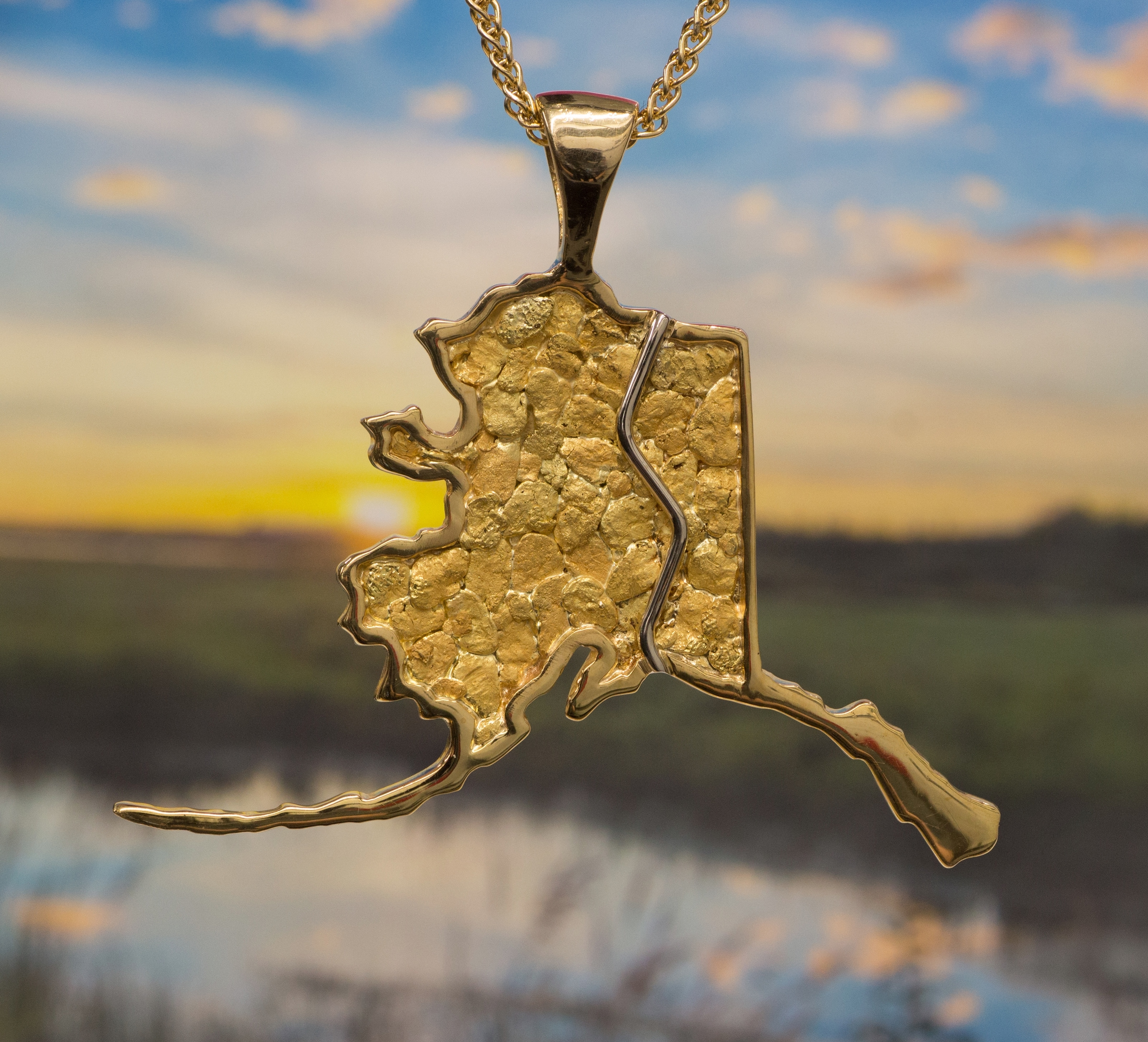 Natural Alaskan Gold Nuggets in 14Kt Yellow Gold Alaska Pipeline Pendant.