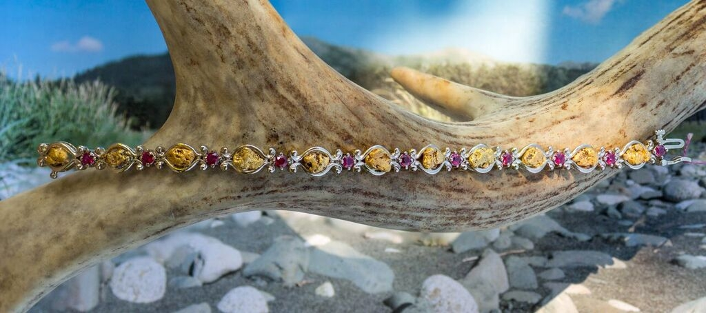 Alaskan Gold Nugget and Ruby Bracelet in White Gold.