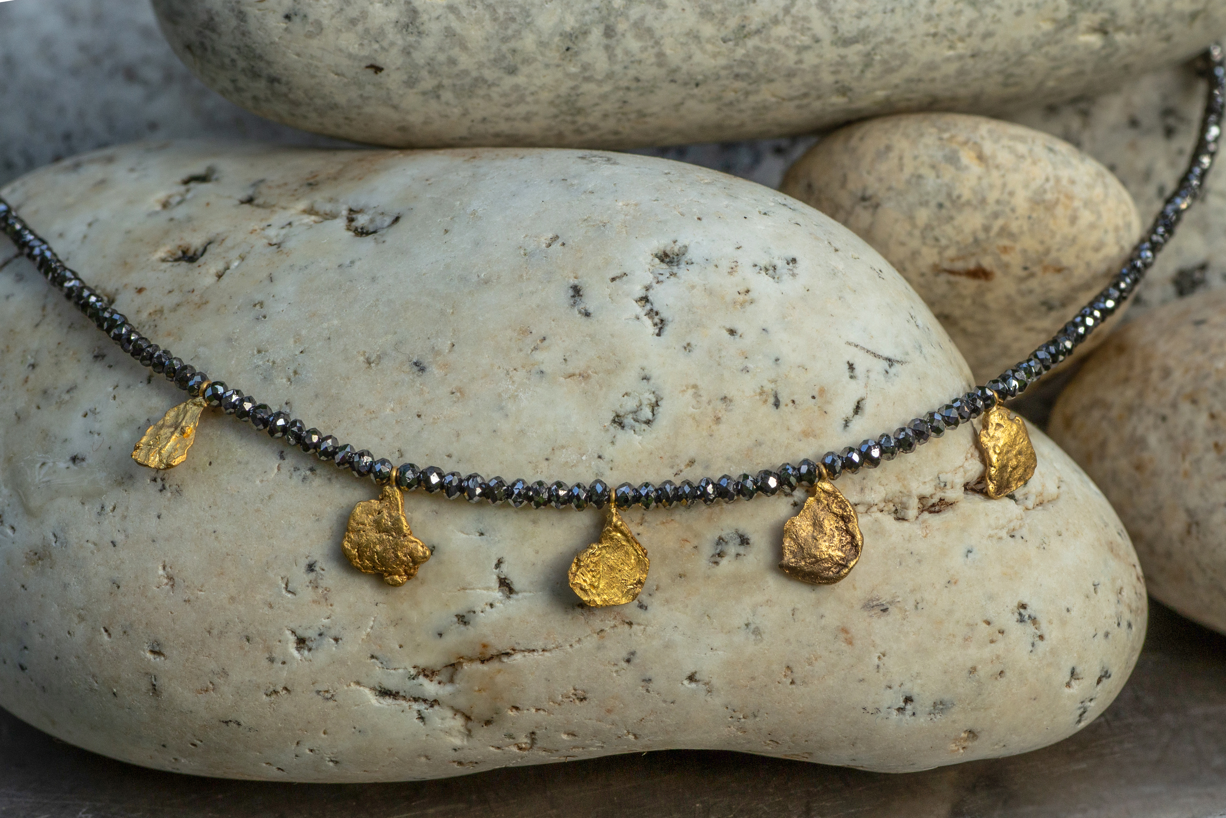 Black Diamond Necklace with natural Alaskan gold nuggets
