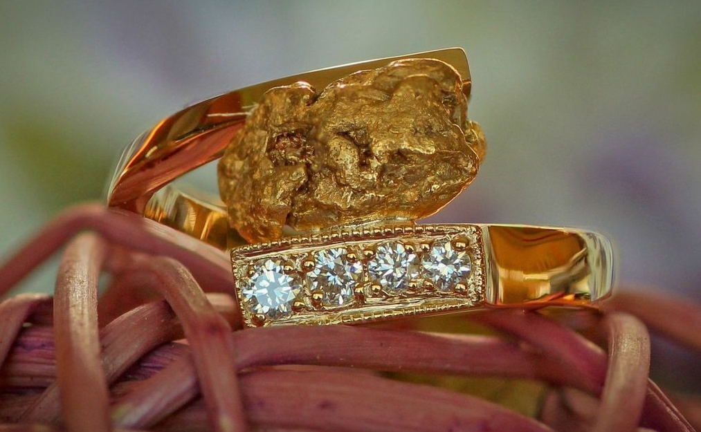 Custom Alaskan Gold Nugget and Diamond Ring