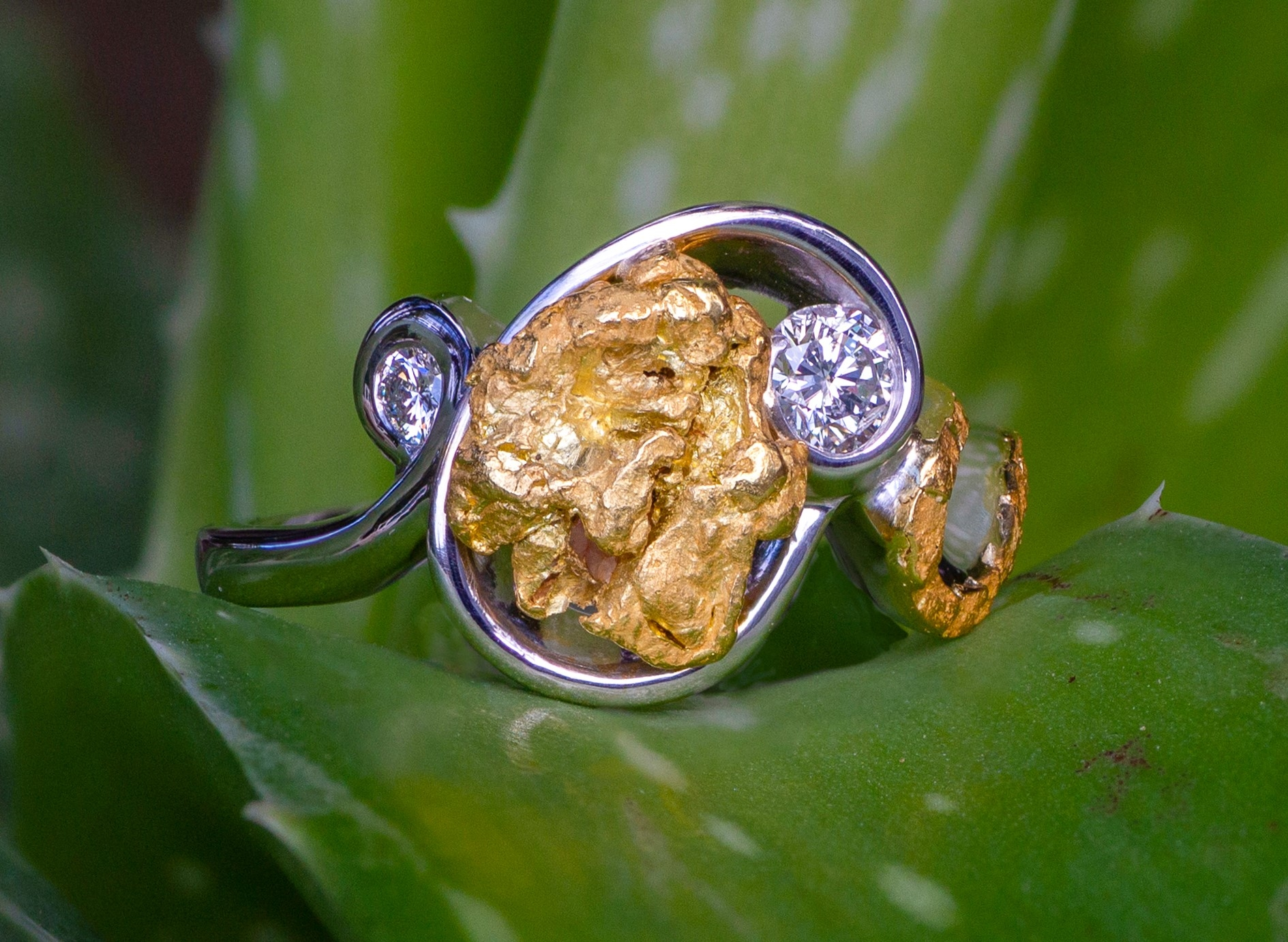 Natural Alaskan Gold Nuggets and Diamonds in 14kt White Gold.