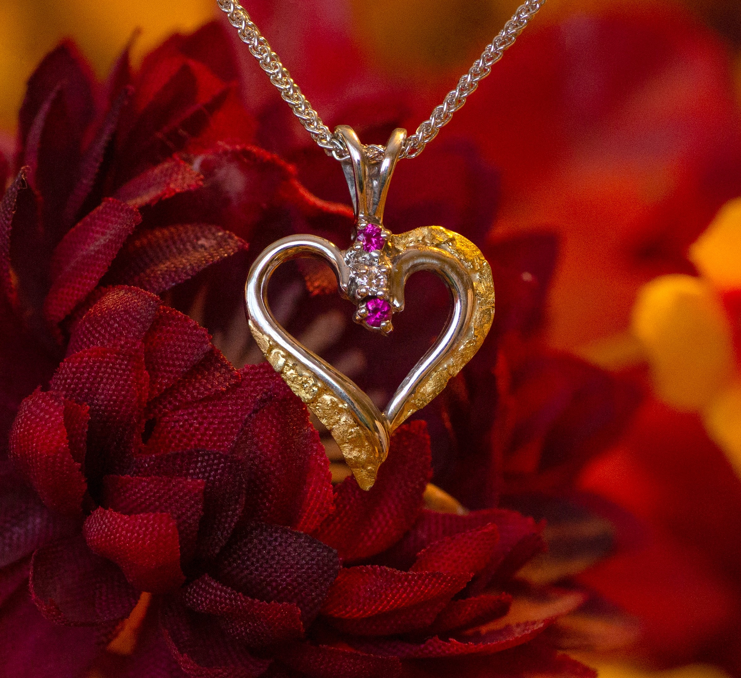 Alaskan Gold Nugget and Ruby Heart Pendant